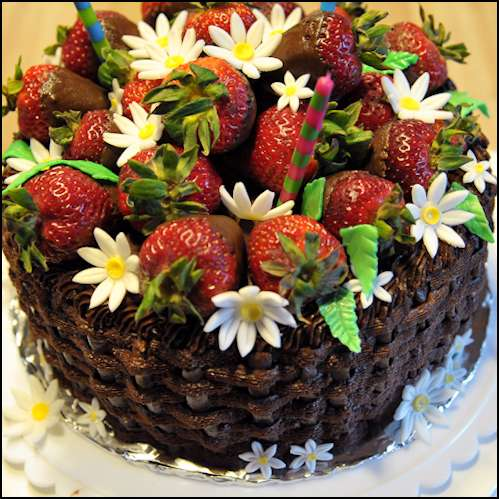 Chocolate Basket Weave Cake with Fresh Strawberries | Gray Barn Baking
