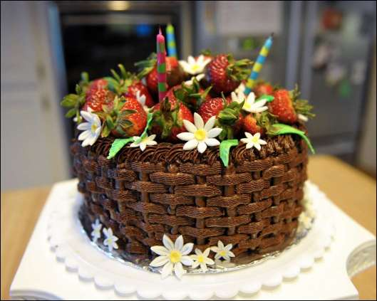 Chocolate Basket Weave Cake with Fresh Strawberries