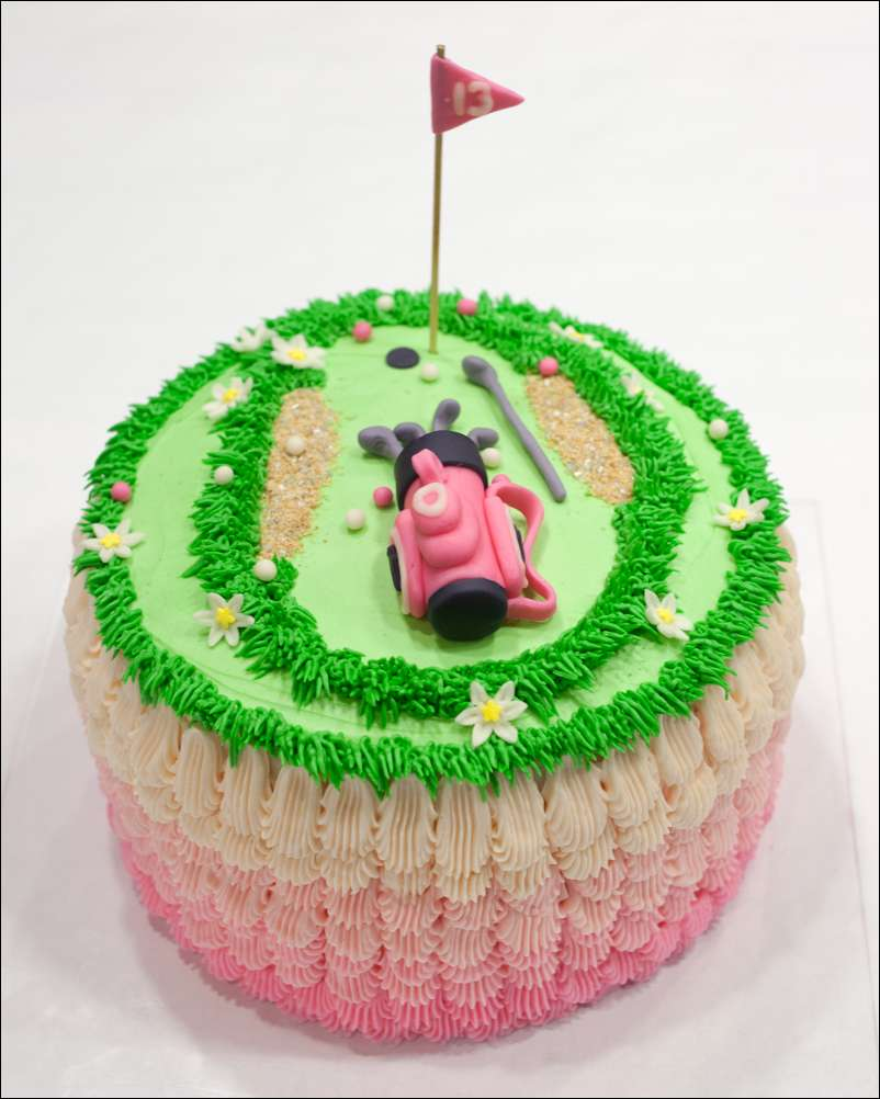 Super Ladies Golf Party Pink Ombre Cake Gray Barn Baking Funny Birthday Cards Online Aeocydamsfinfo