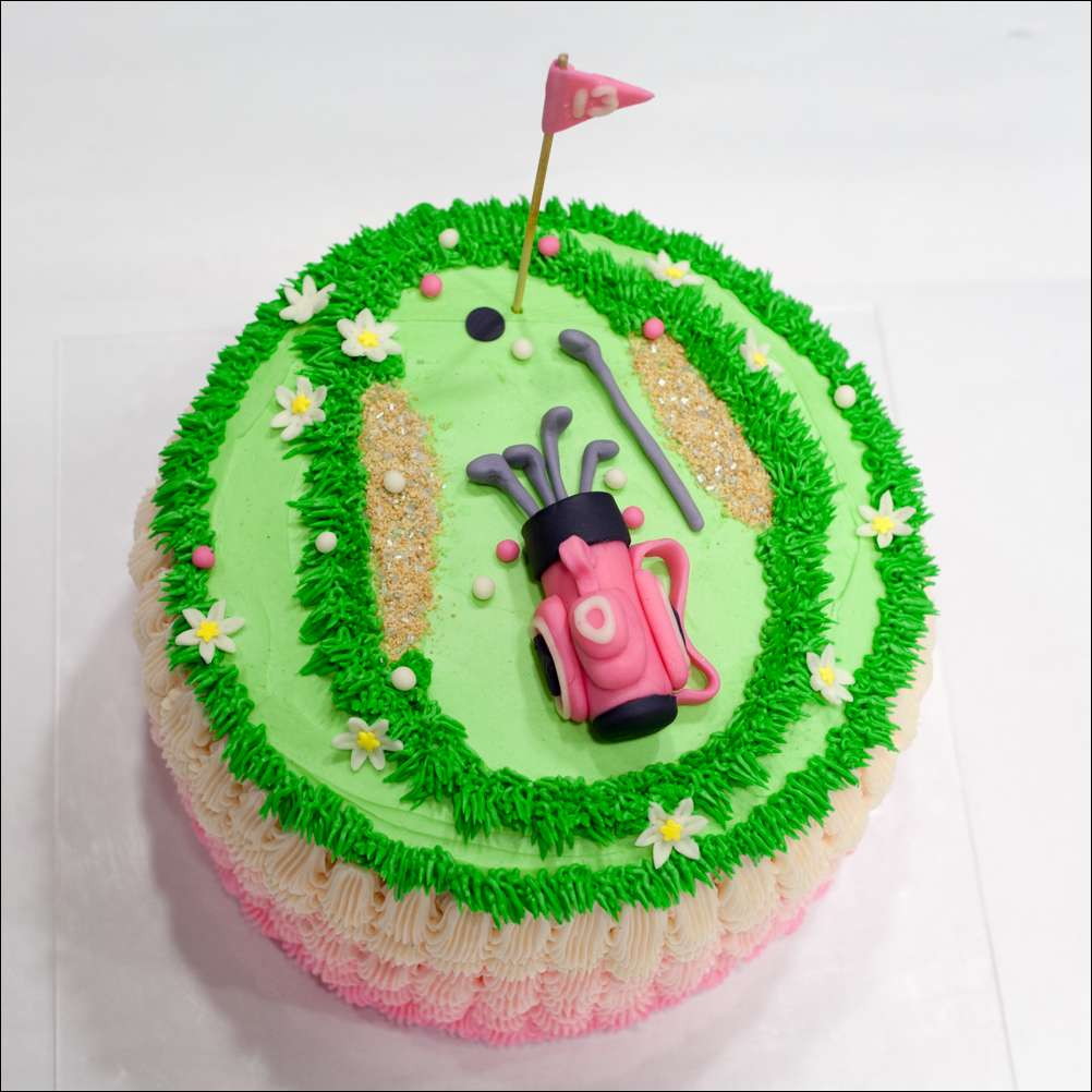 Ladies Golf Party Pink Ombre Cake Gray Barn Baking