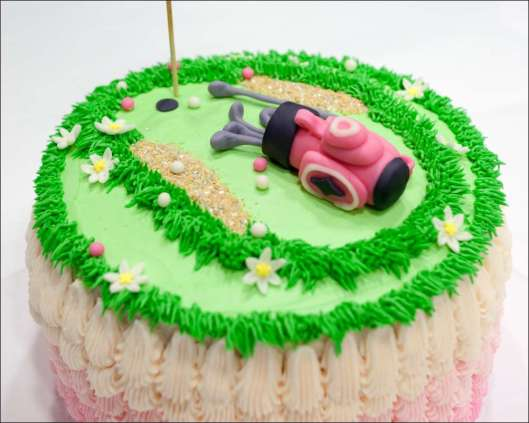 Ladies' Golf Party Pink Ombre Cake