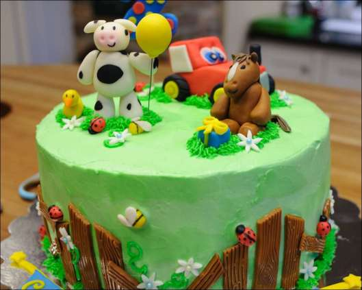 Barnyard-Themed Second Birthday Cake