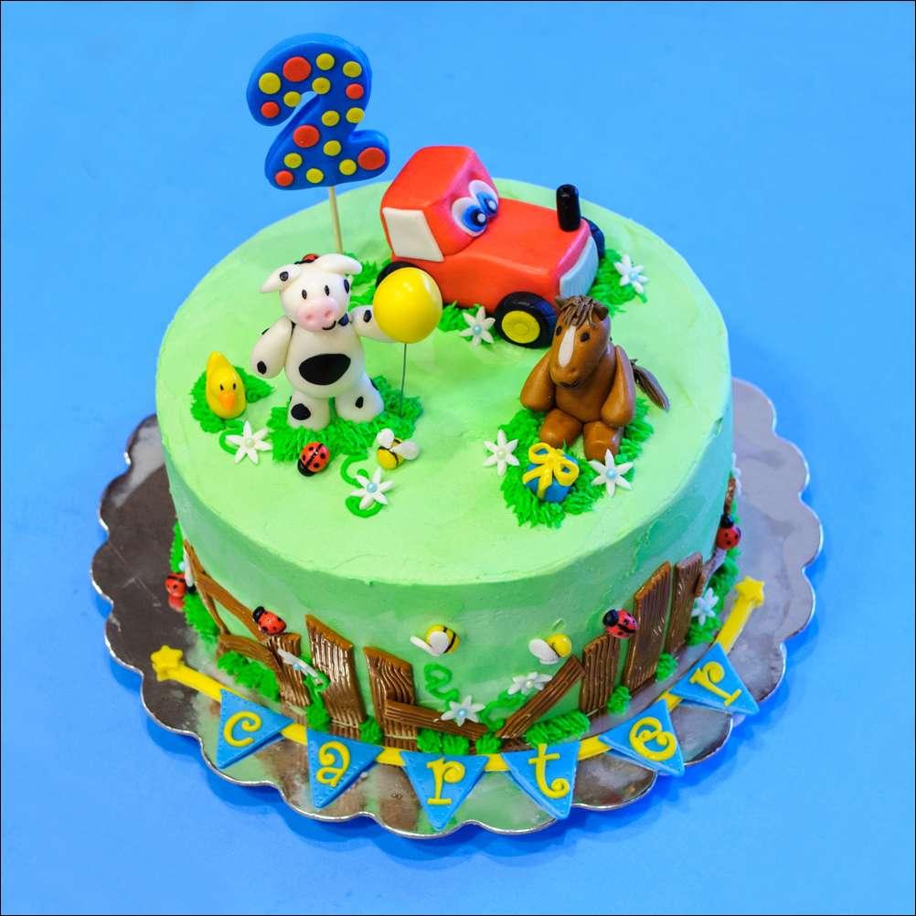 Barnyard-Themed Second Birthday Cake