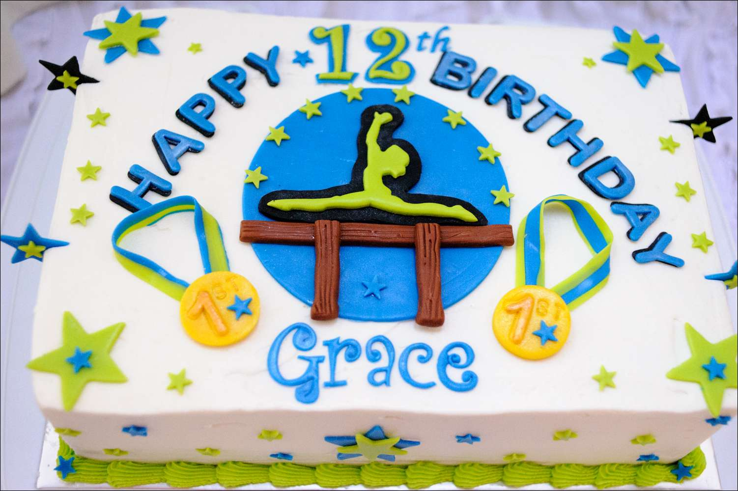 Green Blue And Black Gymnastics Cake Gray Barn Baking