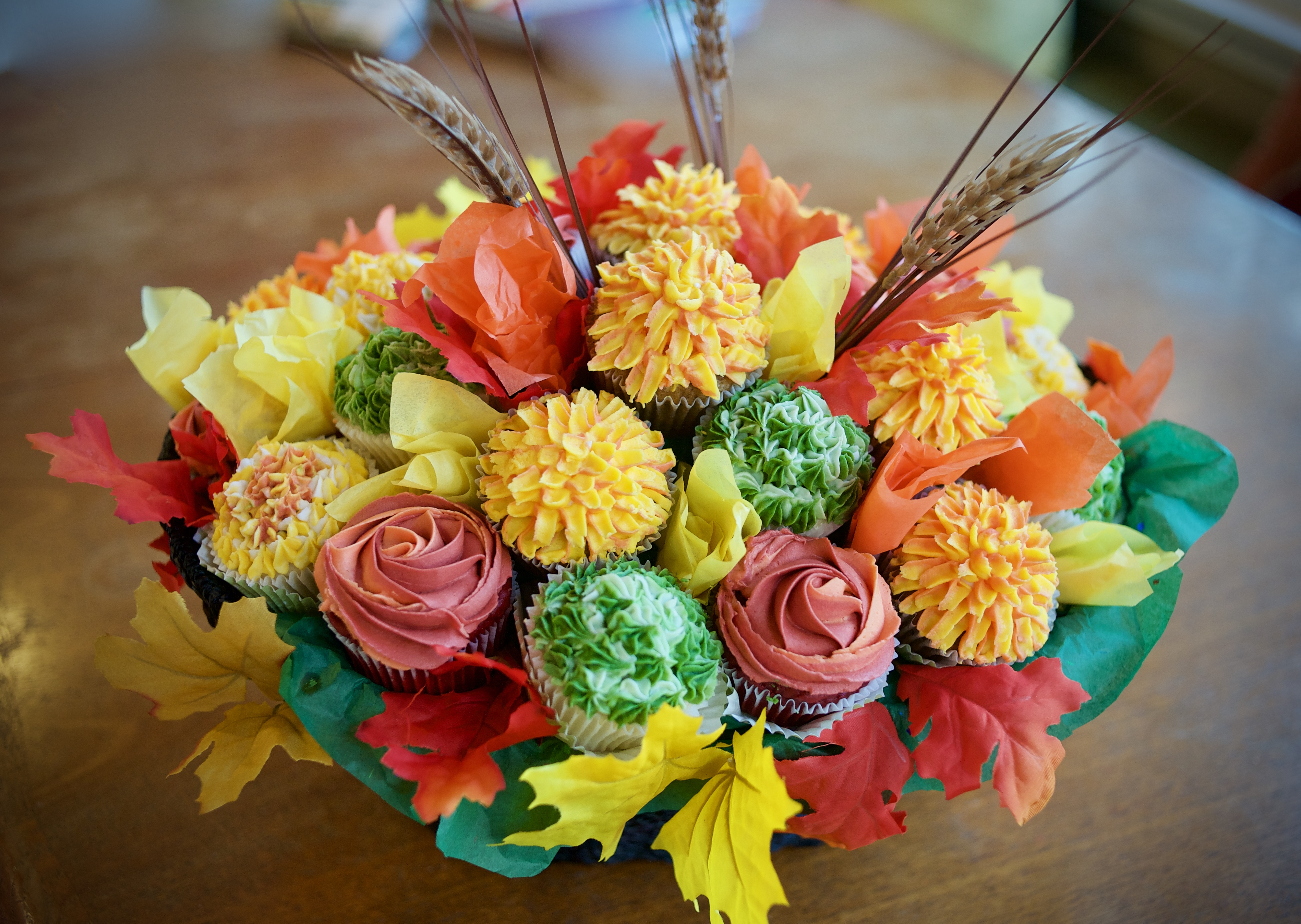 Fall flower cupcake bouquet gray barn baking fall flower basket1 izmirmasajfo