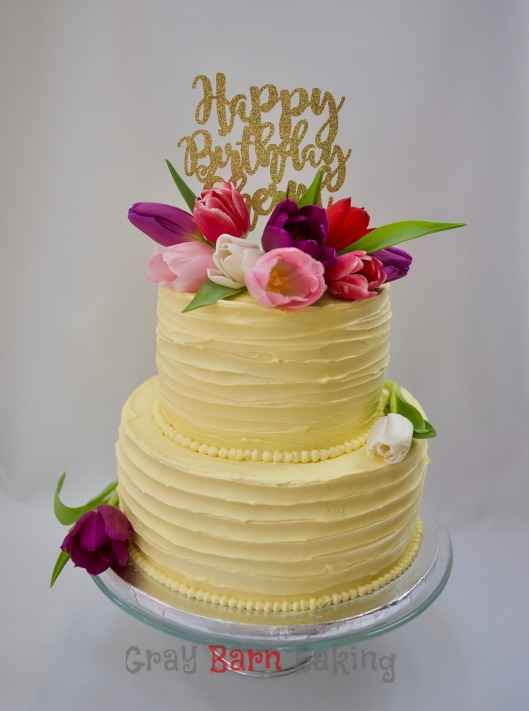 Cheryls Daughters Were Planning A Surprise Party For Their Mother And Asked If I Could Do Yellow Rustic Iced Cake 2 Tier With Tulips The Custom