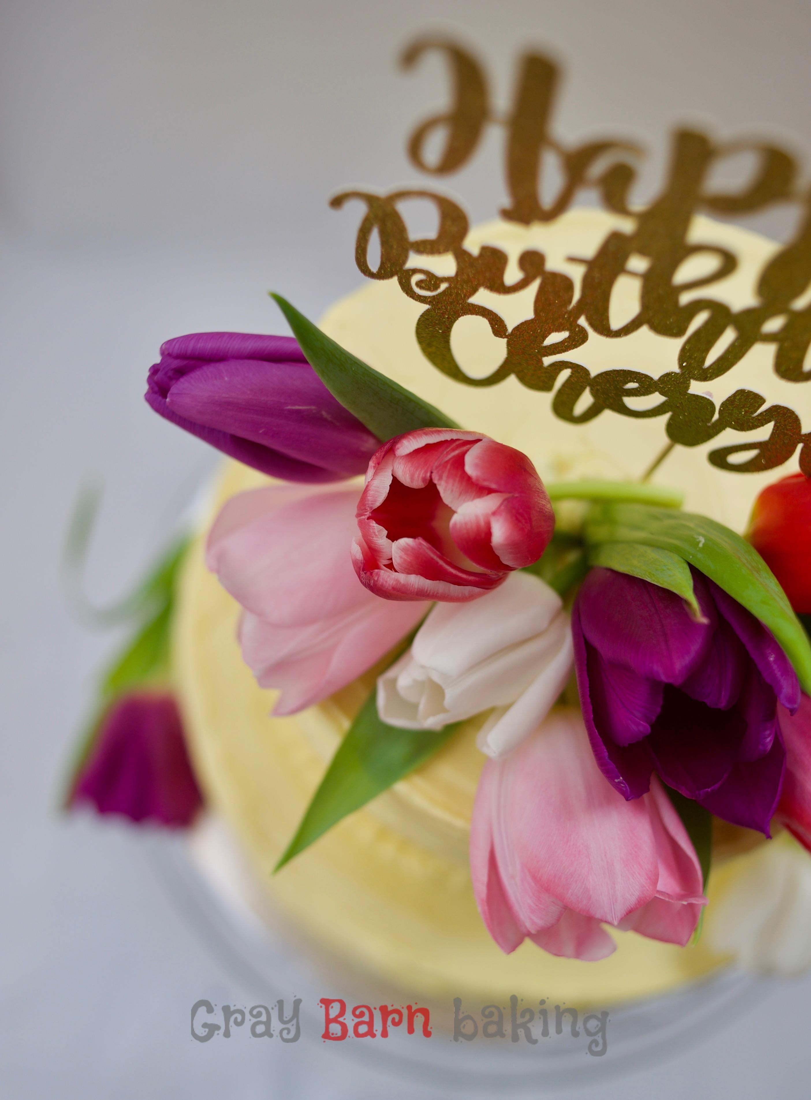 Spring Flowers 2,Tiered Birthday Cake