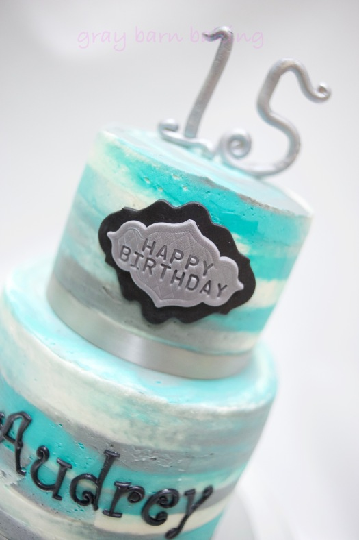 2-tiered blue-silver watercolor birthday cake0000