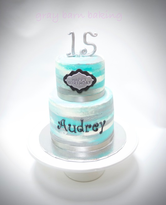 2-tiered blue-silver watercolor birthday cake0002