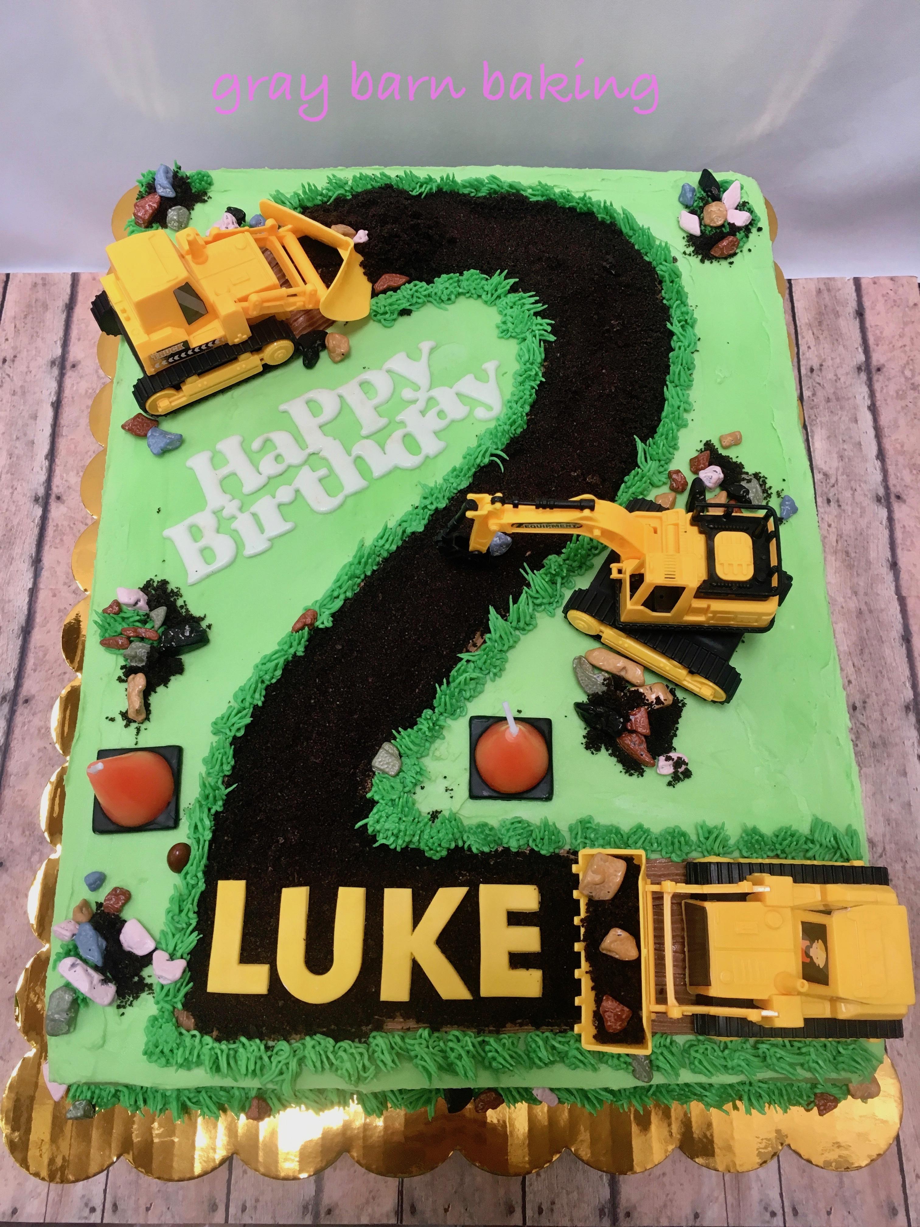 Astounding 2Nd Birthday Construction Cake Gray Barn Baking Funny Birthday Cards Online Fluifree Goldxyz